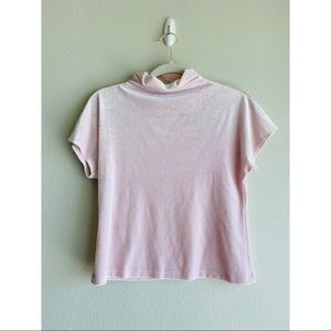 vintage pink velvet turtle neck short sleeve top